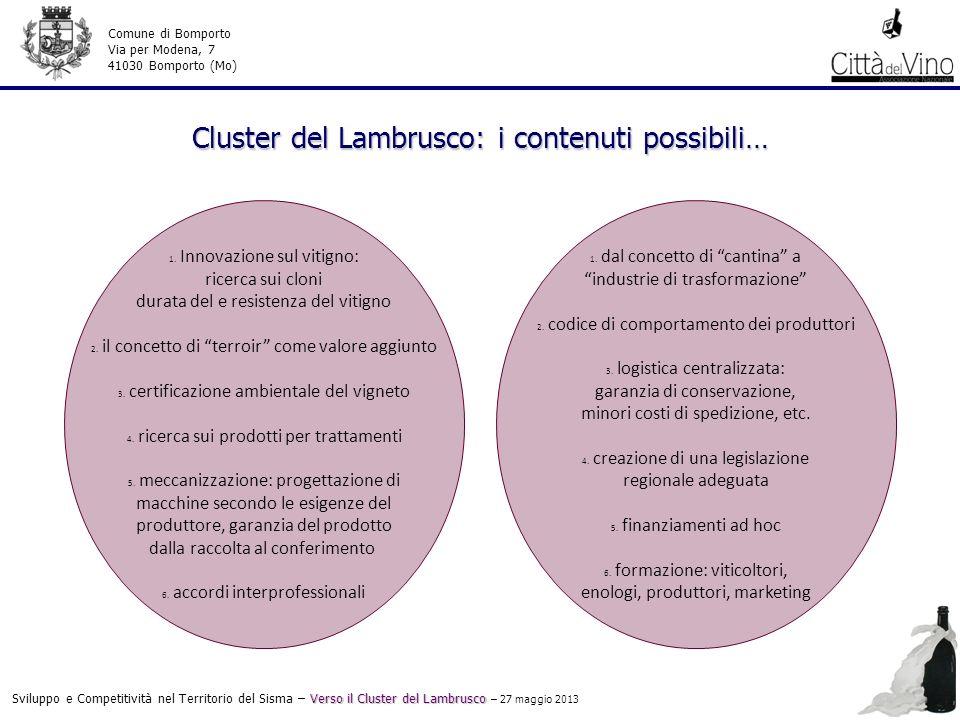 Cluster del Lambrusco: i contenuti possibili… Verso il Cluster del Lambrusco Sviluppo e Competitività nel Territorio del Sisma – Verso il Cluster del Lambrusco – 27 maggio 2013 Comune di Bomporto Via per Modena, 7 41030 Bomporto (Mo) 1.