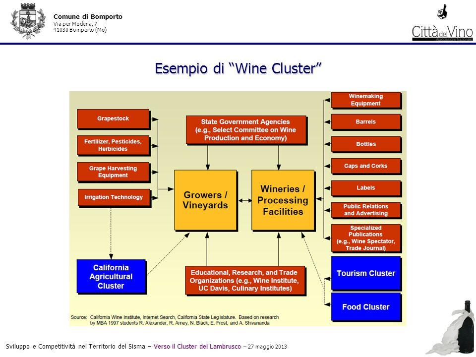 Verso il Cluster del Lambrusco Sviluppo e Competitività nel Territorio del Sisma – Verso il Cluster del Lambrusco – 27 maggio 2013 Comune di Bomporto Via per Modena, 7 41030 Bomporto (Mo) Esempio di Wine Cluster