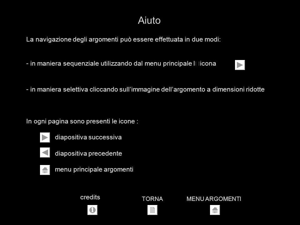 La navigazione degli argomenti può essere effettuata in due modi: - in maniera sequenziale utilizzando dal menu principale l'icona - in maniera selettiva cliccando sullimmagine dellargomento a dimensioni ridotte In ogni pagina sono presenti le icone : diapositiva successiva diapositiva precedente menu principale argomenti Aiuto TORNAMENU ARGOMENTI credits