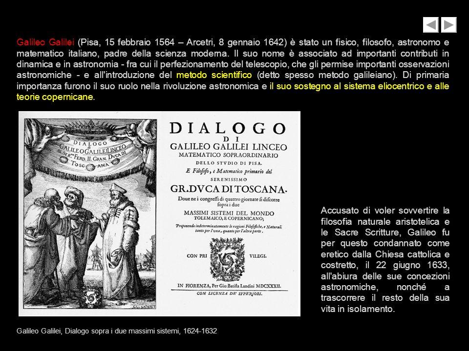 Galileo Galilei (Pisa, 15 febbraio 1564 – Arcetri, 8 gennaio 1642) è stato un fisico, filosofo, astronomo e matematico italiano, padre della scienza moderna.