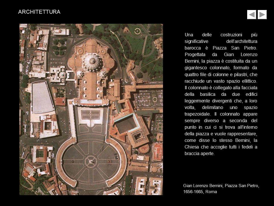 Una delle costruzioni più significative dellarchitettura barocca è Piazza San Pietro. Progettata da Gian Lorenzo Bernini, la piazza è costituita da un