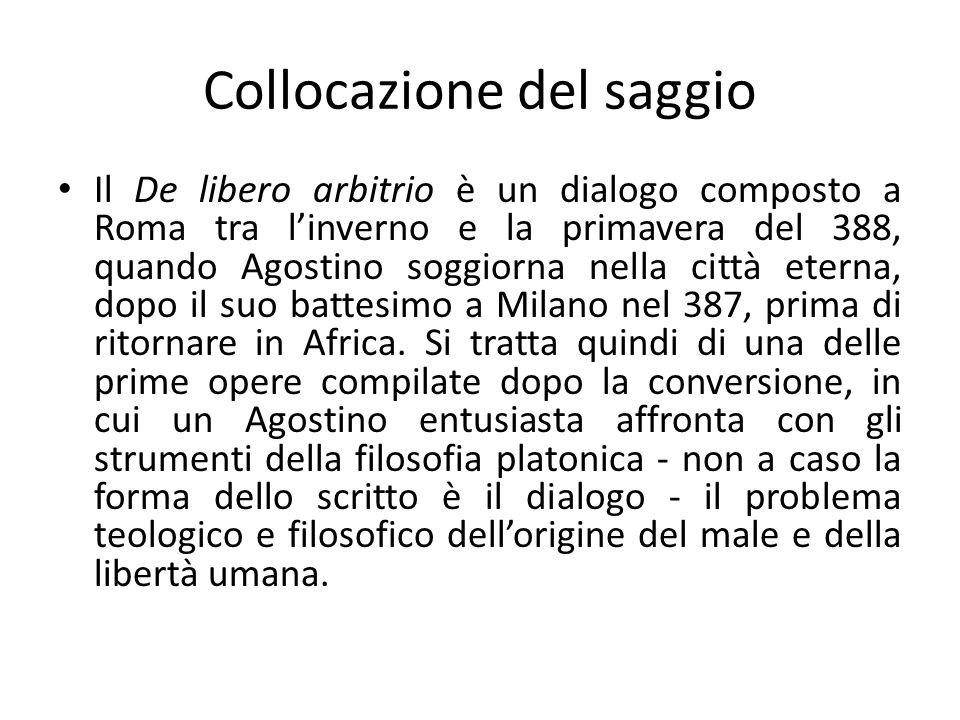Collocazione del saggio Il De libero arbitrio è un dialogo composto a Roma tra linverno e la primavera del 388, quando Agostino soggiorna nella città