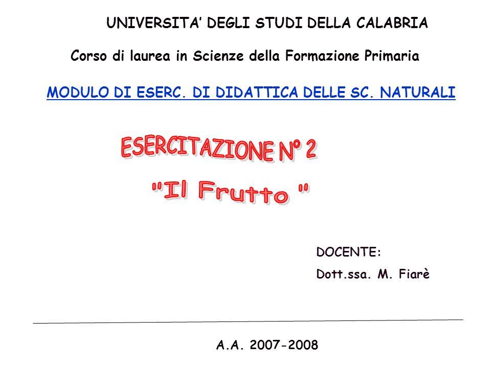 UNIVERSITA DEGLI STUDI DELLA CALABRIA Corso di laurea in Scienze della Formazione Primaria MODULO DI ESERC. DI DIDATTICA DELLE SC. NATURALI DOCENTE: D