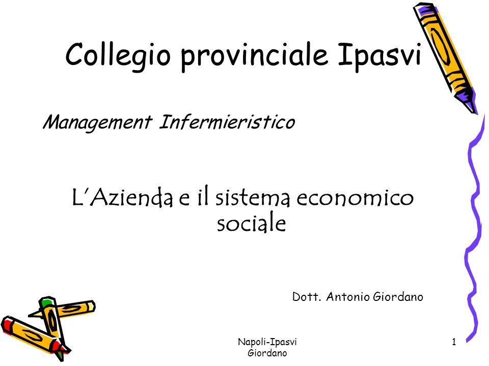 Napoli-Ipasvi Giordano 2 Come iniziare Invertiamo i termini: Prima il sistema economico sociale Poi Lazienda Lazienda, quindi, risposta operativa alle richieste del sistema economico sociale