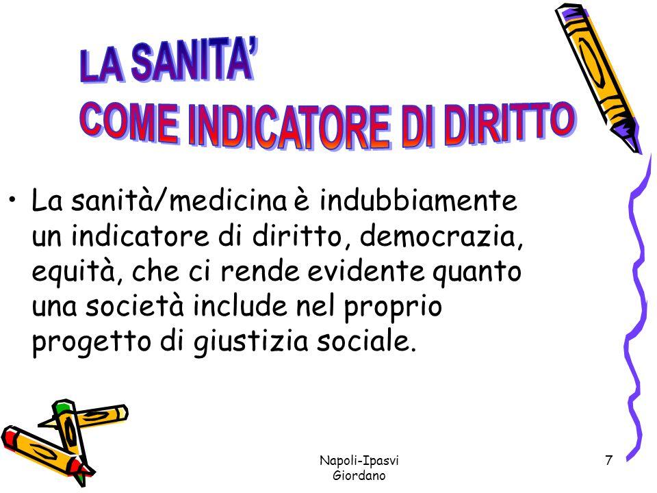 Napoli-Ipasvi Giordano 18 LA RIFORMA OSPEDALIERA DEL 68 - LEGGE MARIOTTI CON LA LEGGE DI RIFORMA DEL 68 LASSISTENZA VIENE CONSIDERATA, IN OTTEMPERANZA ALLART.32 DELLA COSTITUZIONE, COME UN DIRITTO DEL CITTADINO E NON COME UNA INIZIATIVA CARITATEVOLE.