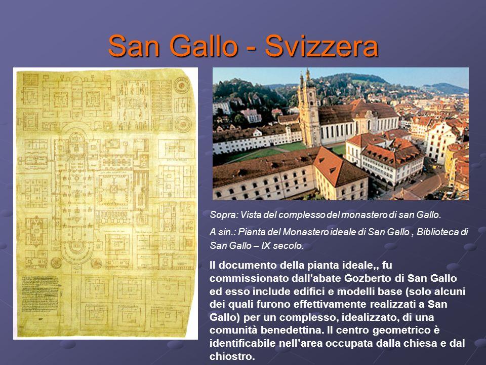San Gallo - Svizzera Sopra: Vista del complesso del monastero di san Gallo. A sin.: Pianta del Monastero ideale di San Gallo, Biblioteca di San Gallo