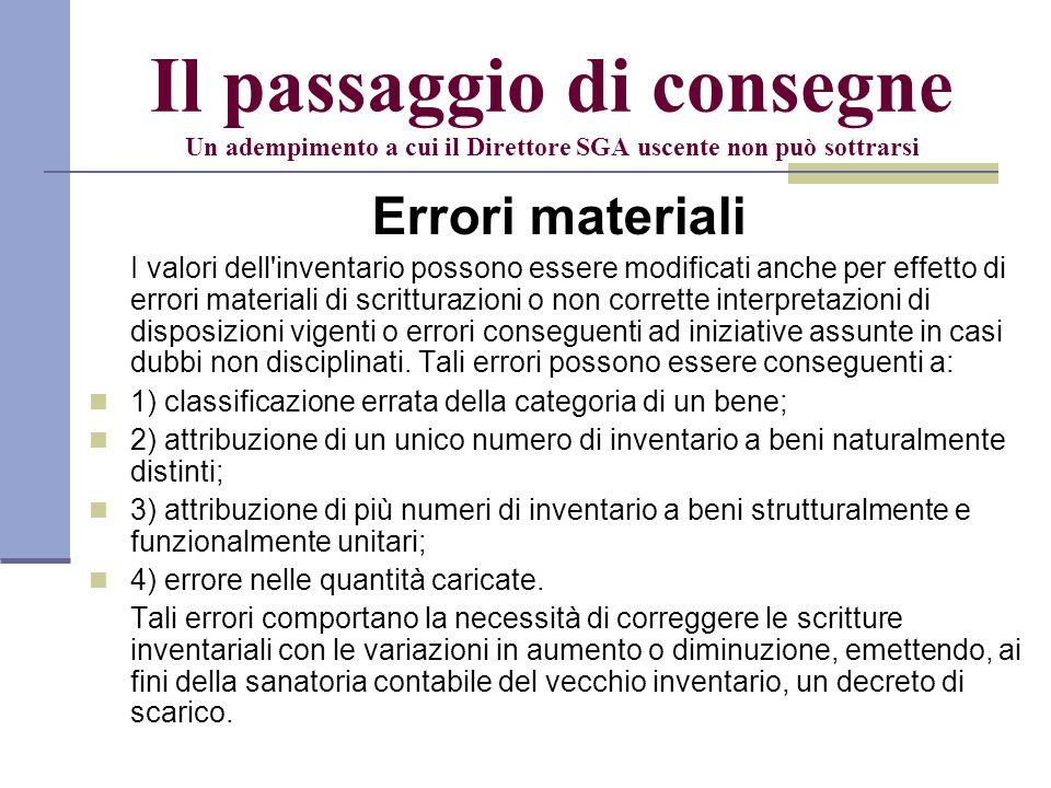 Il passaggio di consegne Un adempimento a cui il Direttore SGA uscente non può sottrarsi Errori materiali I valori dell'inventario possono essere modi