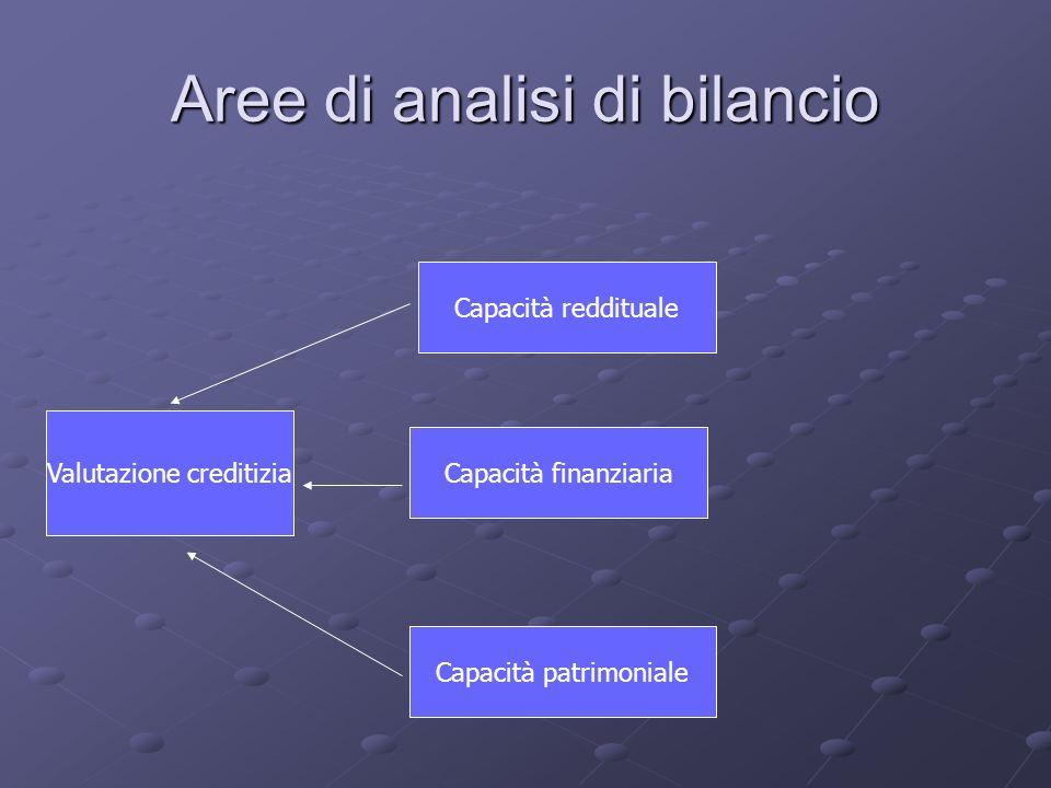 Aree di analisi di bilancio Valutazione creditizia Capacità reddituale Capacità finanziaria Capacità patrimoniale