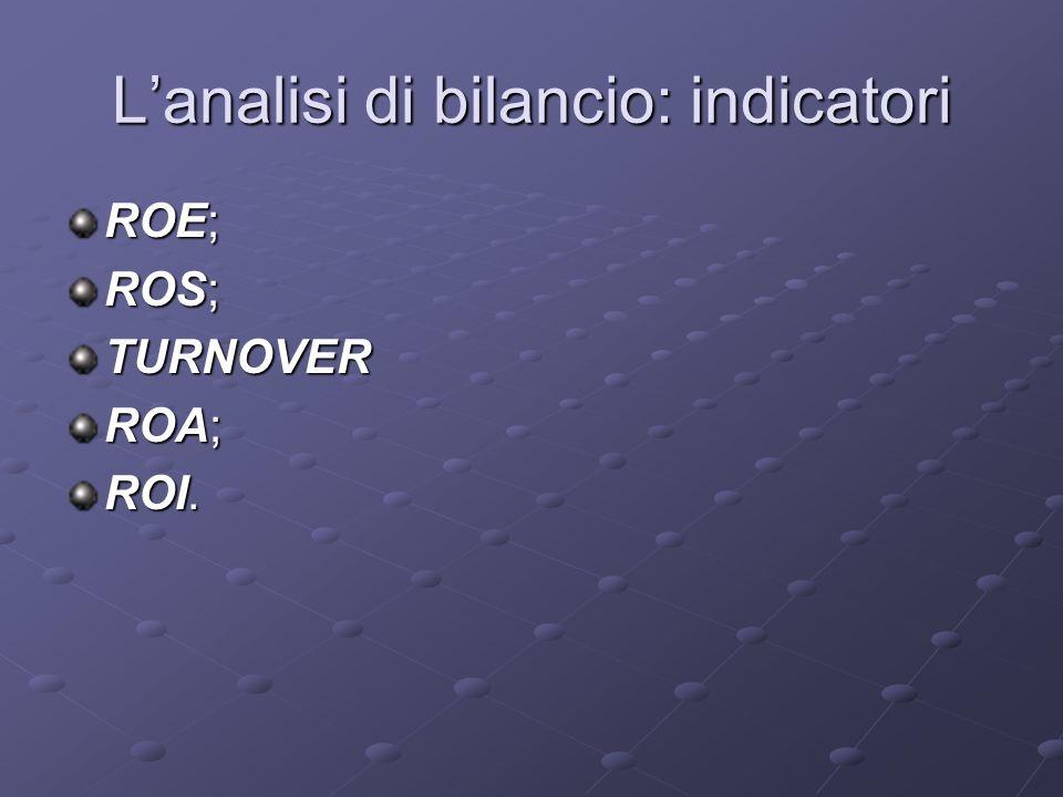 Lanalisi di bilancio: indicatori ROE; ROS; TURNOVER ROA; ROI.
