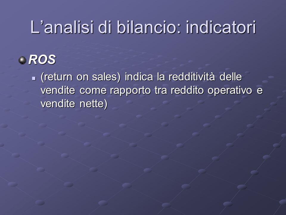 Lanalisi di bilancio: indicatori ROS (return on sales) indica la redditività delle vendite come rapporto tra reddito operativo e vendite nette) (retur
