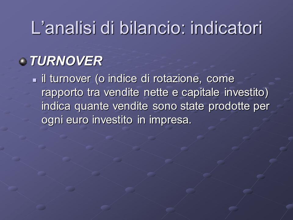 Lanalisi di bilancio: indicatori TURNOVER il turnover (o indice di rotazione, come rapporto tra vendite nette e capitale investito) indica quante vend