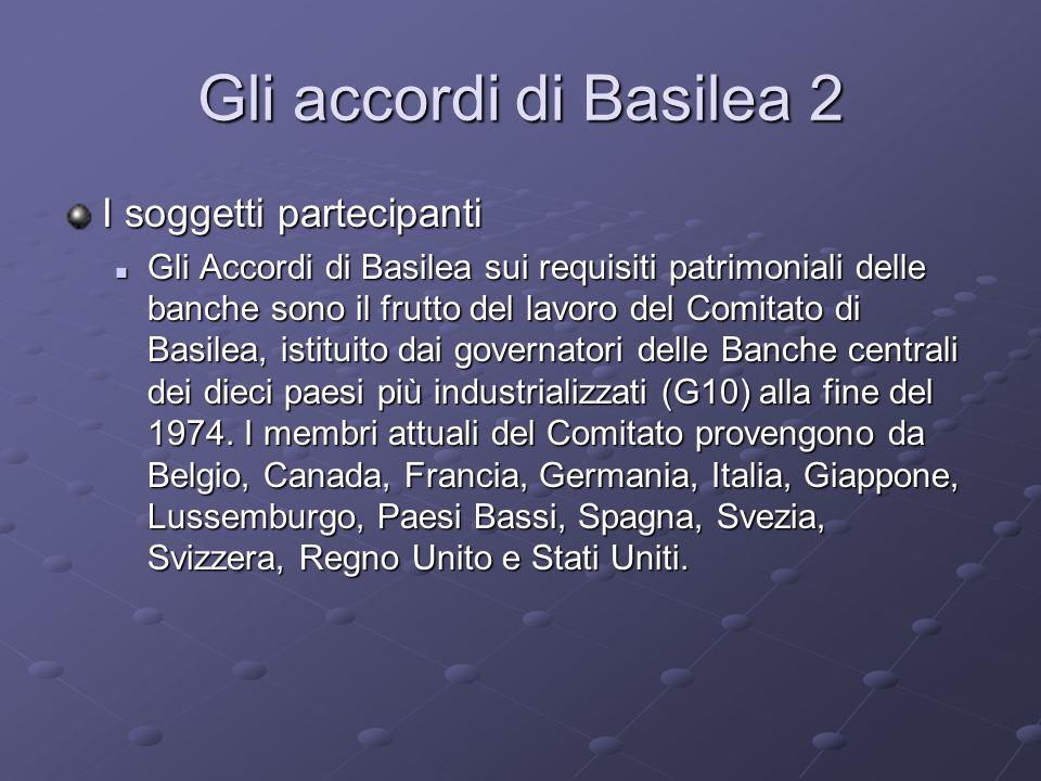Gli accordi di Basilea 2 I soggetti partecipanti Gli Accordi di Basilea sui requisiti patrimoniali delle banche sono il frutto del lavoro del Comitato