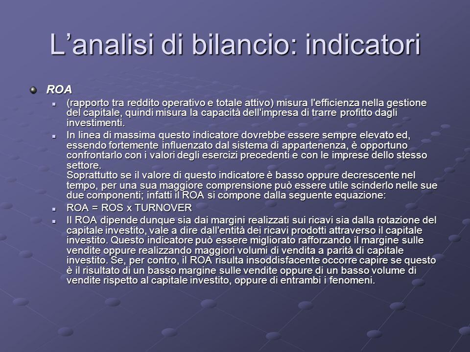 Lanalisi di bilancio: indicatori ROA (rapporto tra reddito operativo e totale attivo) misura l'efficienza nella gestione del capitale, quindi misura l