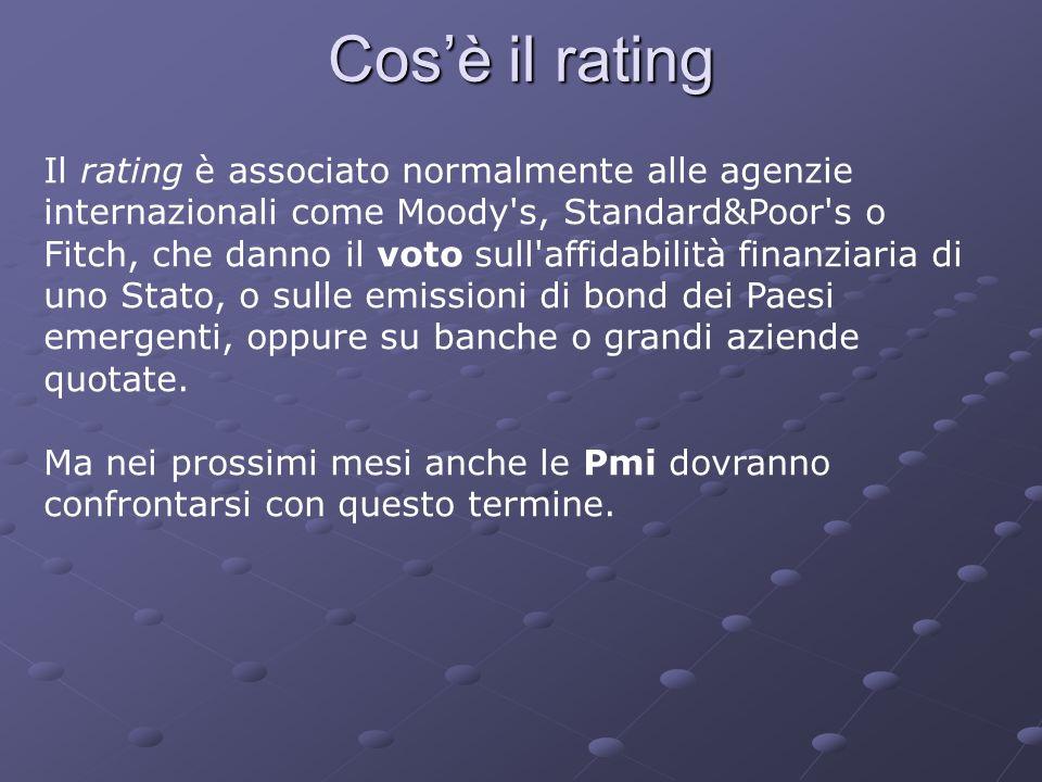 Cosè il rating Il rating è associato normalmente alle agenzie internazionali come Moody's, Standard&Poor's o Fitch, che danno il voto sull'affidabilit