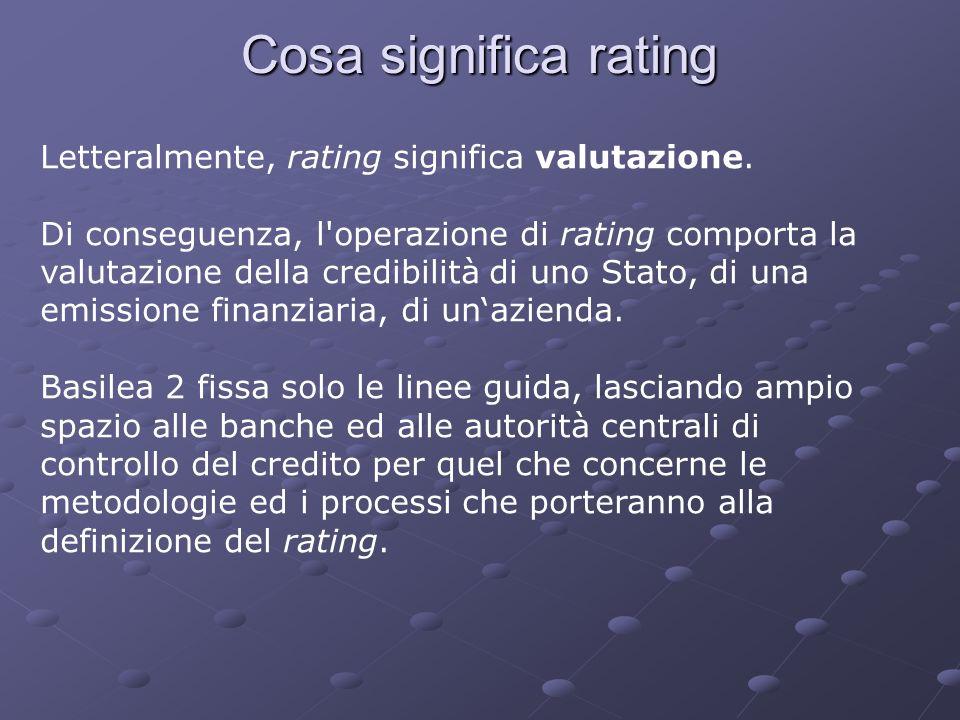 Cosa significa rating Letteralmente, rating significa valutazione. Di conseguenza, l'operazione di rating comporta la valutazione della credibilità di