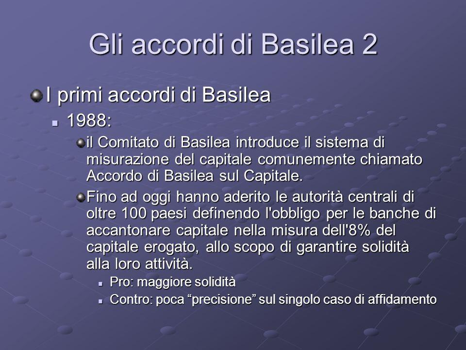 Gli accordi di Basilea 2 I primi accordi di Basilea 1988: 1988: il Comitato di Basilea introduce il sistema di misurazione del capitale comunemente ch