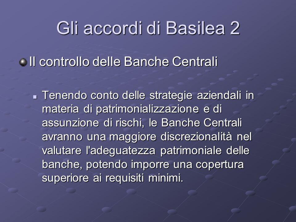 Gli accordi di Basilea 2 Il controllo delle Banche Centrali Tenendo conto delle strategie aziendali in materia di patrimonializzazione e di assunzione