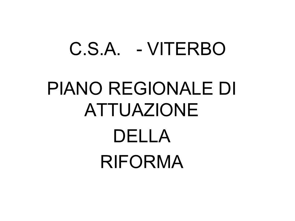 C.S.A. - VITERBO PIANO REGIONALE DI ATTUAZIONE DELLA RIFORMA
