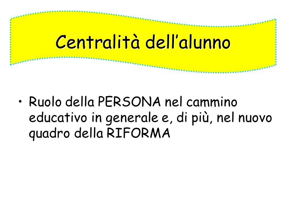Ruolo della PERSONA nel cammino educativo in generale e, di più, nel nuovo quadro della RIFORMA Centralità dellalunno