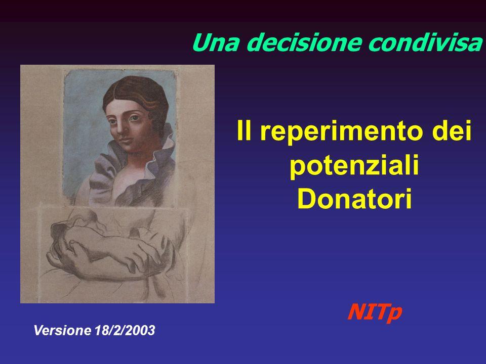 Il reperimento dei potenziali Donatori Una decisione condivisa NITp Versione 18/2/2003