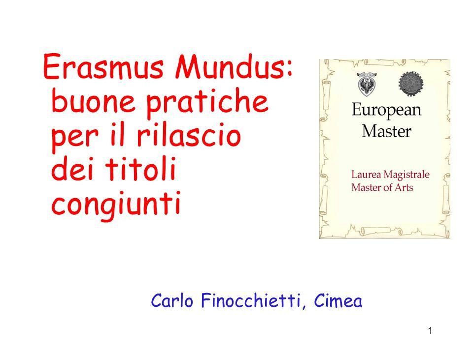 1 Erasmus Mundus: buone pratiche per il rilascio dei titoli congiunti Carlo Finocchietti, Cimea