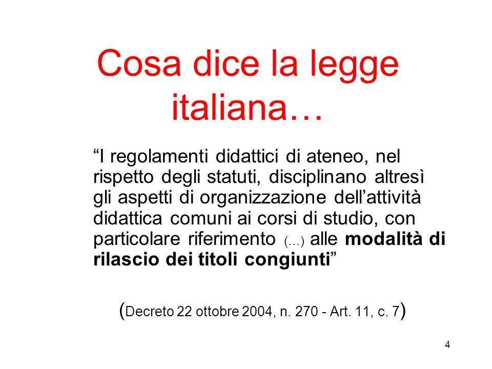 4 Cosa dice la legge italiana… I regolamenti didattici di ateneo, nel rispetto degli statuti, disciplinano altresì gli aspetti di organizzazione della