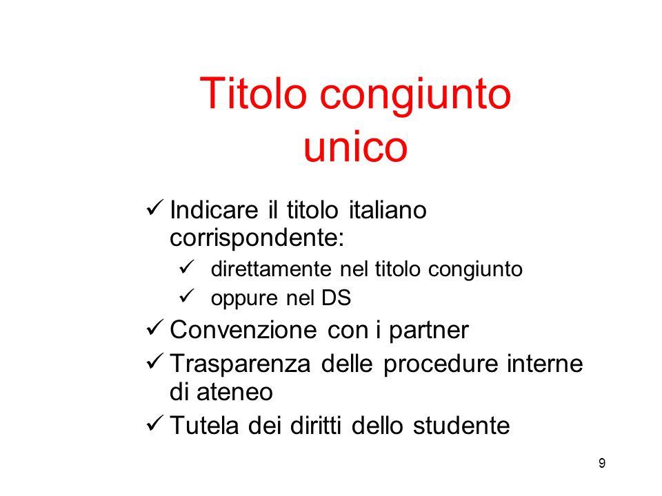 9 Titolo congiunto unico Indicare il titolo italiano corrispondente: direttamente nel titolo congiunto oppure nel DS Convenzione con i partner Traspar