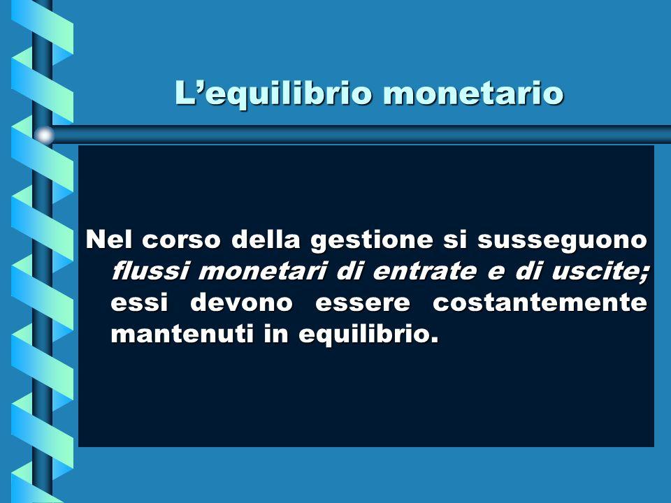 Lequilibrio monetario Nel corso della gestione si susseguono flussi monetari di entrate e di uscite; essi devono essere costantemente mantenuti in equ