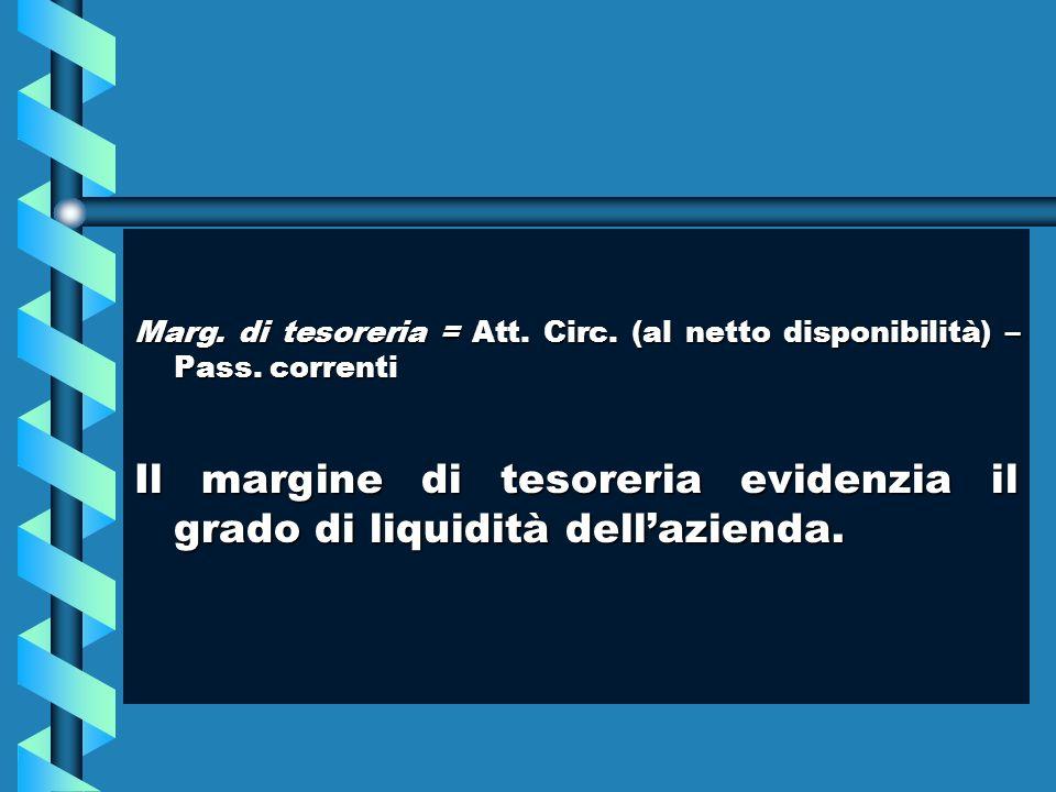 Marg. di tesoreria = Att. Circ. (al netto disponibilità) – Pass. correnti Il margine di tesoreria evidenzia il grado di liquidità dellazienda.