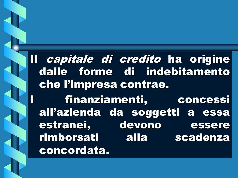 Il capitale di credito ha origine dalle forme di indebitamento che limpresa contrae. I finanziamenti, concessi allazienda da soggetti a essa estranei,