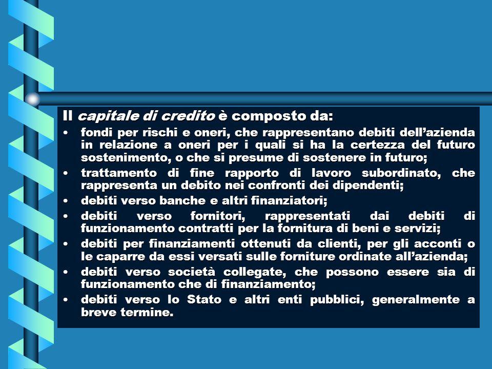Il capitale di credito è composto da: fondi per rischi e oneri, che rappresentano debiti dellazienda in relazione a oneri per i quali si ha la certezz