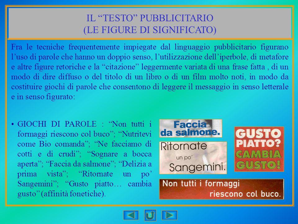 IL TESTO PUBBLICITARIO (LE FIGURE DI SIGNIFICATO) Fra le tecniche frequentemente impiegate dal linguaggio pubblicitario figurano luso di parole che ha