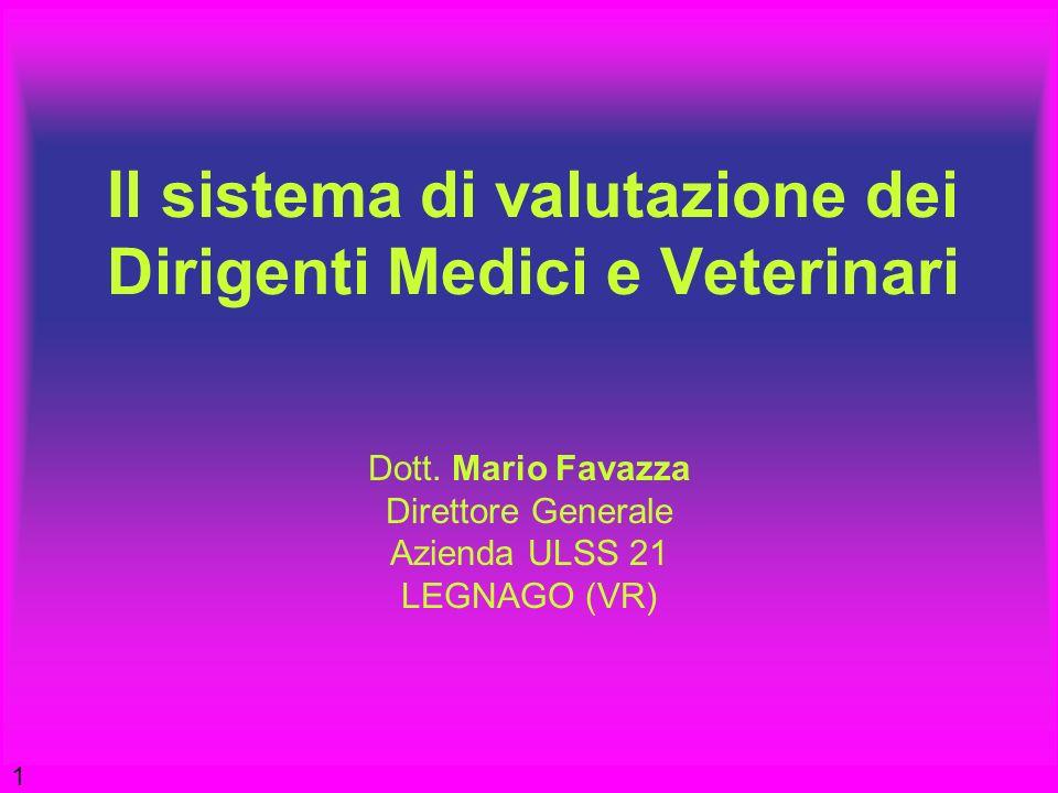 Il sistema di valutazione dei Dirigenti Medici e Veterinari Dott. Mario Favazza Direttore Generale Azienda ULSS 21 LEGNAGO (VR) 1