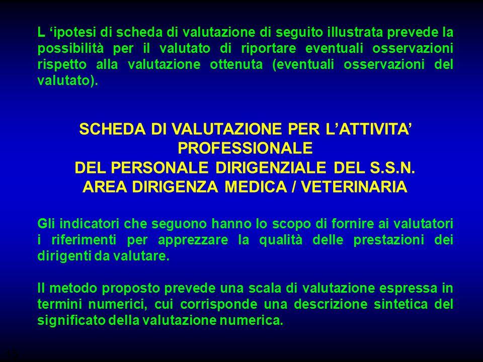 15 L ipotesi di scheda di valutazione di seguito illustrata prevede la possibilità per il valutato di riportare eventuali osservazioni rispetto alla v