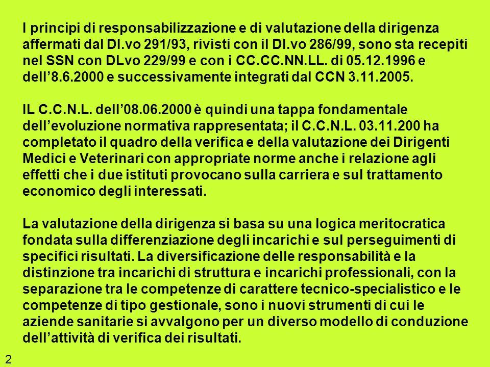 I principi di responsabilizzazione e di valutazione della dirigenza affermati dal DI.vo 291/93, rivisti con il DI.vo 286/99, sono sta recepiti nel SSN