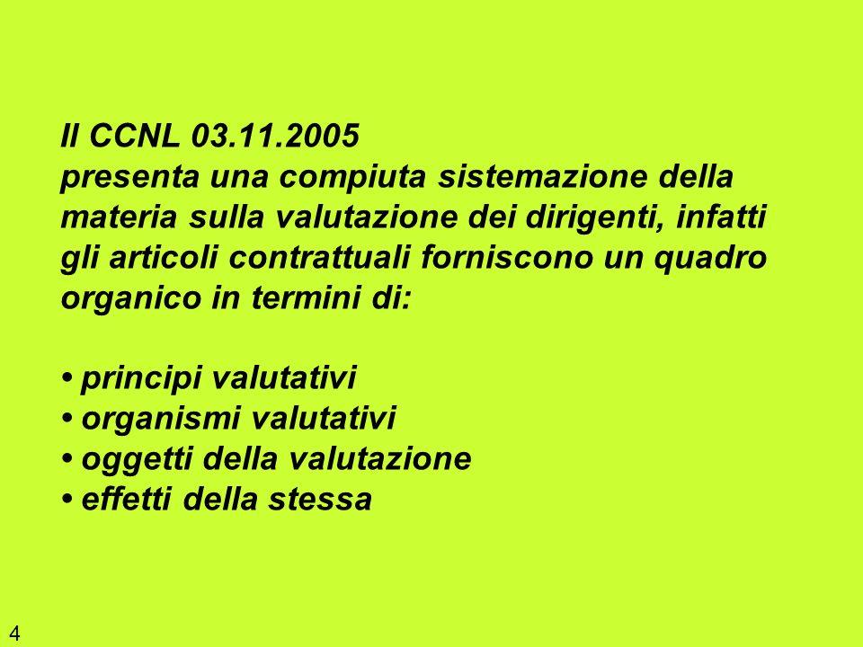 Il CCNL 03.11.2005 presenta una compiuta sistemazione della materia sulla valutazione dei dirigenti, infatti gli articoli contrattuali forniscono un q