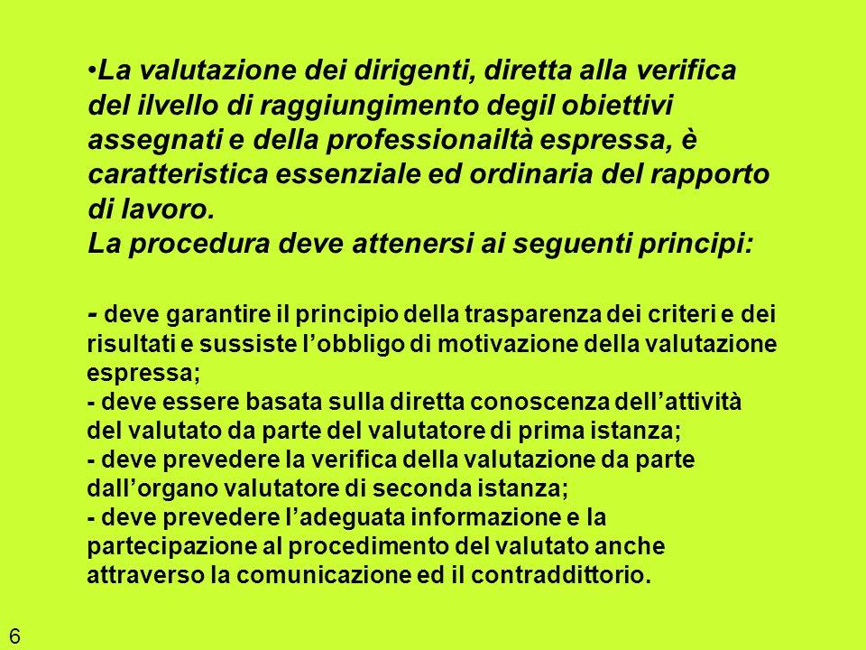 La valutazione dei dirigenti, diretta alla verifica del ilvello di raggiungimento degil obiettivi assegnati e della professionailtà espressa, è caratt