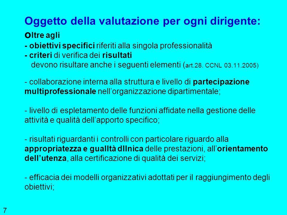 7 Oggetto della valutazione per ogni dirigente: o Itre agli - obiettivi specifici riferiti alla singola professionalità - criteri di verifica dei risu