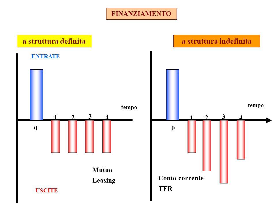 FINANZIAMENTO ENTRATE USCITE 0 1 3 24 0 12 3 4 Conto corrente TFR a struttura indefinitaa struttura definita Mutuo Leasing tempo
