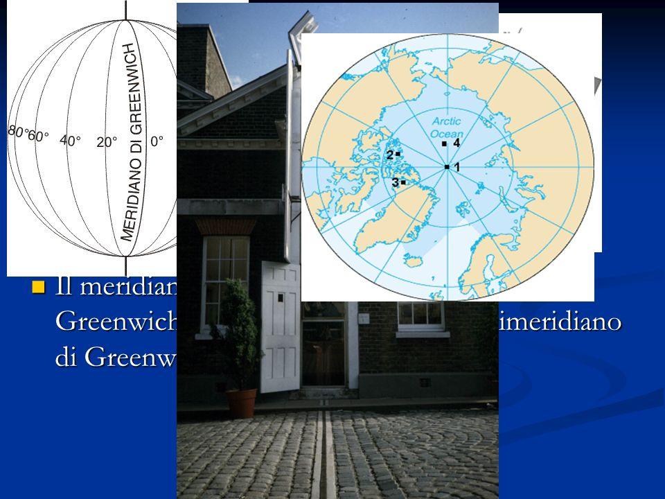 I meridiani sono circonferenze ottenute immaginando di tagliare la terra con gli infiniti piani che passano per l'asse terrestre I meridiani sono circ