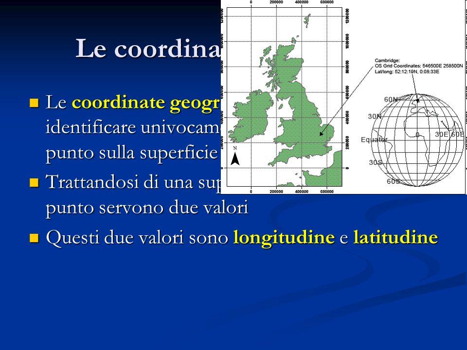Le coordinate geografiche Le coordinate geografiche servono ad identificare univocamente la posizione di un punto sulla superficie terrestre. Trattand