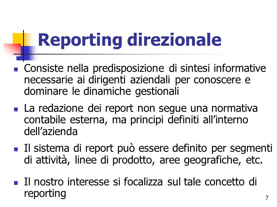 7 Reporting direzionale Consiste nella predisposizione di sintesi informative necessarie ai dirigenti aziendali per conoscere e dominare le dinamiche