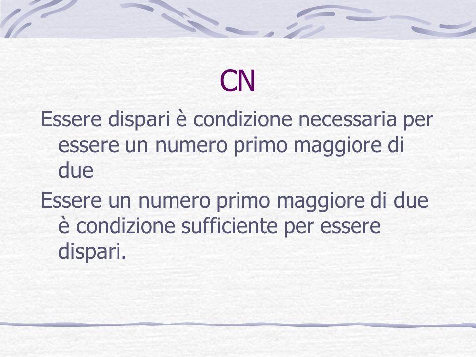 CN Essere dispari è condizione necessaria per essere un numero primo maggiore di due Essere un numero primo maggiore di due è condizione sufficiente p