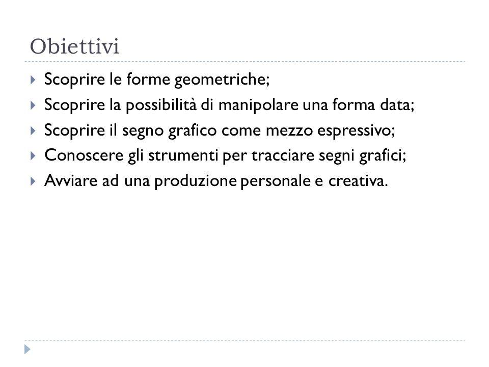 Obiettivi Scoprire le forme geometriche; Scoprire la possibilità di manipolare una forma data; Scoprire il segno grafico come mezzo espressivo; Conosc