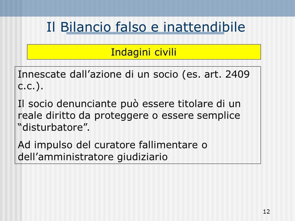 Il Bilancio falso e inattendibile Innescate dallazione di un socio (es. art. 2409 c.c.). Il socio denunciante può essere titolare di un reale diritto