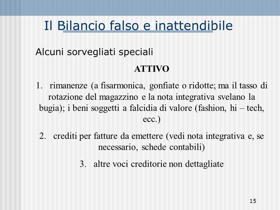 Il Bilancio falso e inattendibile Alcuni sorvegliati speciali ATTIVO 1. rimanenze (a fisarmonica, gonfiate o ridotte; ma il tasso di rotazione del mag