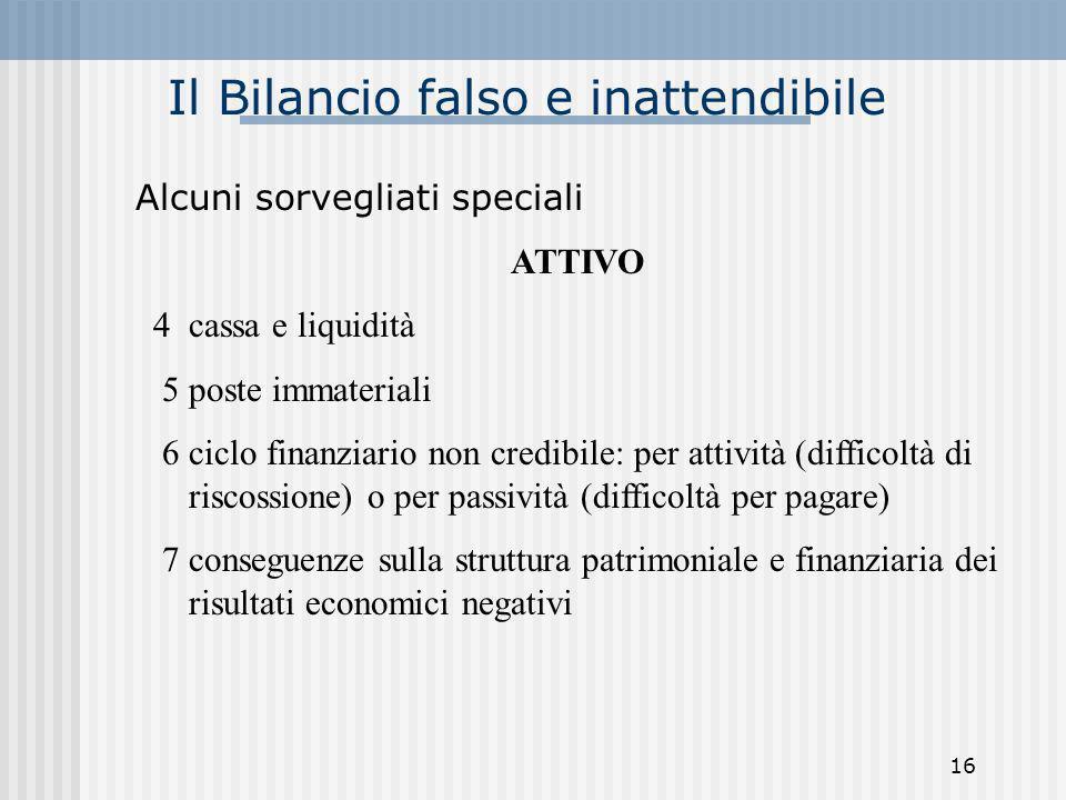 Il Bilancio falso e inattendibile Alcuni sorvegliati speciali ATTIVO 4 cassa e liquidità 5 poste immateriali 6 ciclo finanziario non credibile: per at