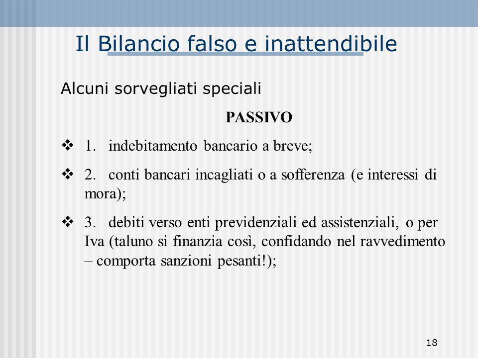 Il Bilancio falso e inattendibile Alcuni sorvegliati speciali PASSIVO 1. indebitamento bancario a breve; 2. conti bancari incagliati o a sofferenza (e