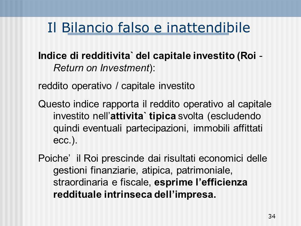 Il Bilancio falso e inattendibile Indice di redditivita` del capitale investito (Roi - Return on Investment): reddito operativo / capitale investito Q