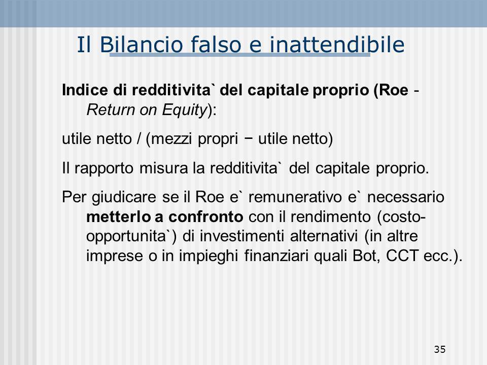 Il Bilancio falso e inattendibile Indice di redditivita` del capitale proprio (Roe - Return on Equity): utile netto / (mezzi propri utile netto) Il ra